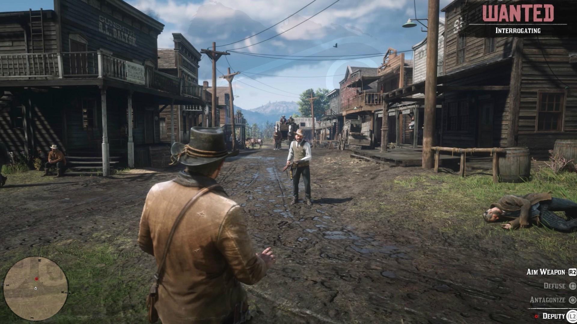 Una captura de Red Dead Redemption II donde se muestra la interfaz de juego.