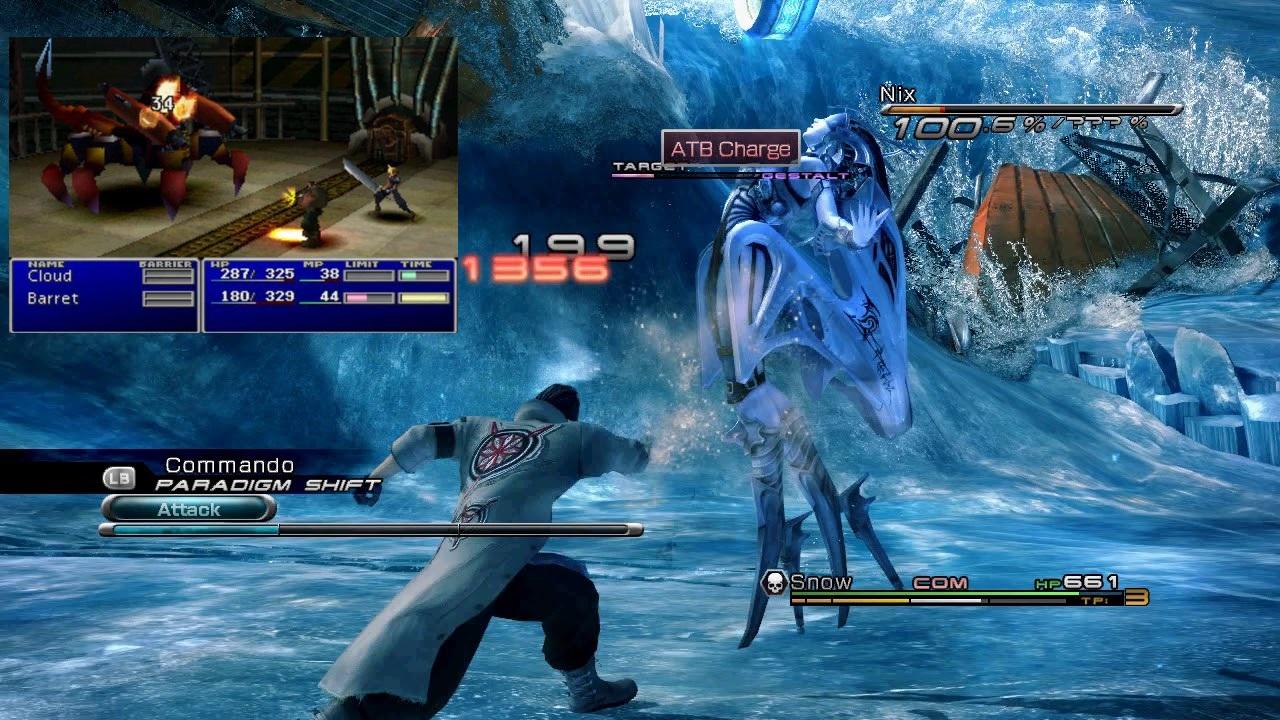 Captura de pantalla comparando Final Fantasy VII y Final Fantasy XIII.