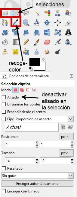 herramientas de selección en Gimp