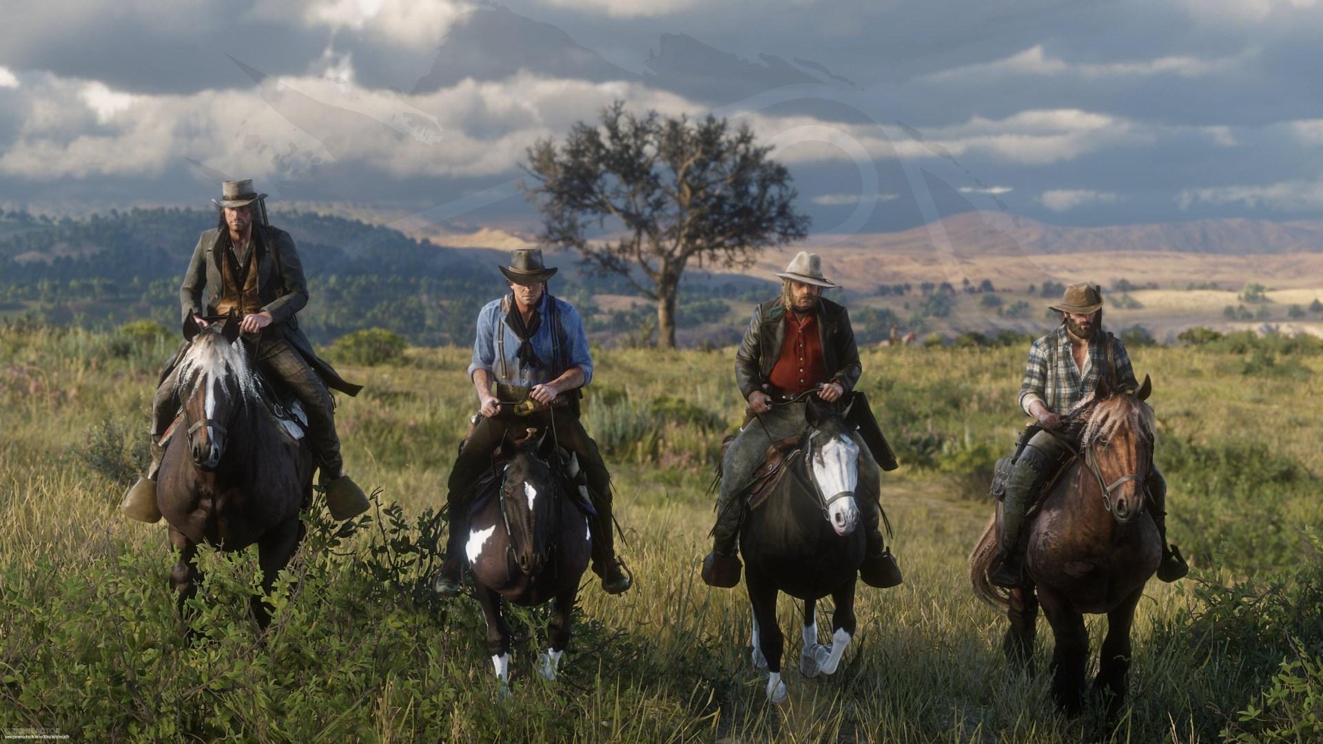 Una captura de Red Dead Redemption II en la que se ven cuatro jinetes.