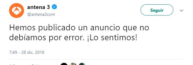 El tweet que puso Antena 3 tras cometer su error