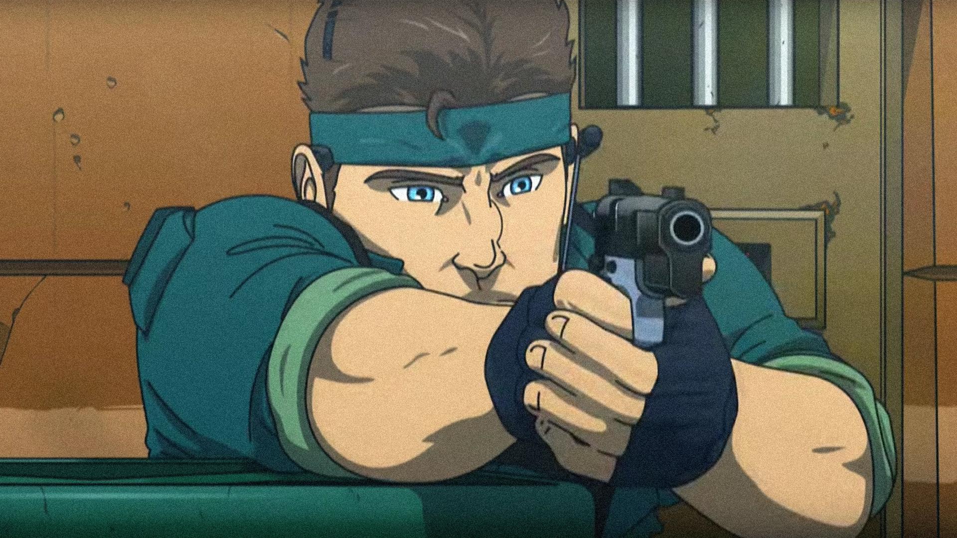 Snake apuntando pistola